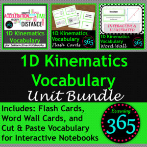 1D Kinematics Vocab BUNDLE Cover