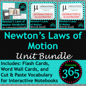 Newton's Laws Vocab BUNDLE Cover