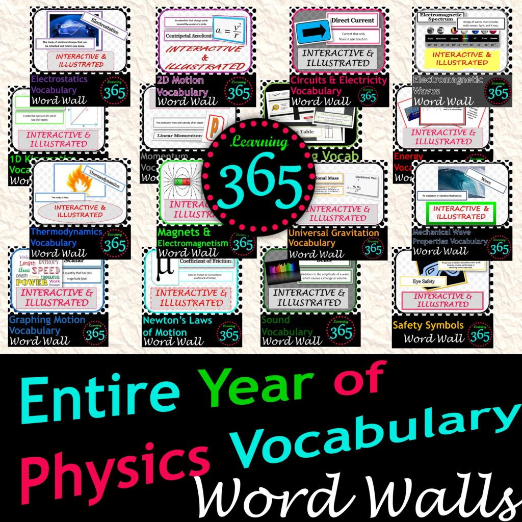 Year of Physics Vocab Word Wall Cover2